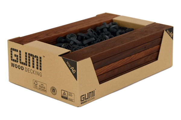 BOX A6 – Oiled, decking boards, 16 pcs – 21x70x440 mm  with connectors included