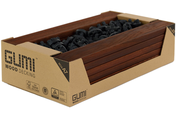 BOX A7 – Oiled, decking boards, 16 pcs – 21x70x514 mm  with connectors included